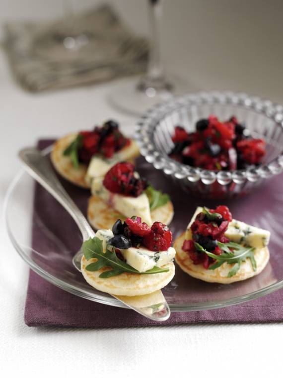 Canapes With Blueberry And Raspberry