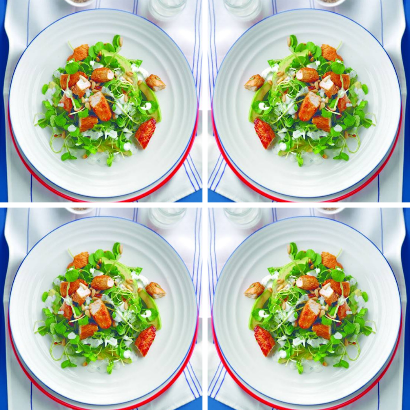 Honeyed Turkey and Avocado Salad with a Yoghurt Mint Dressing.