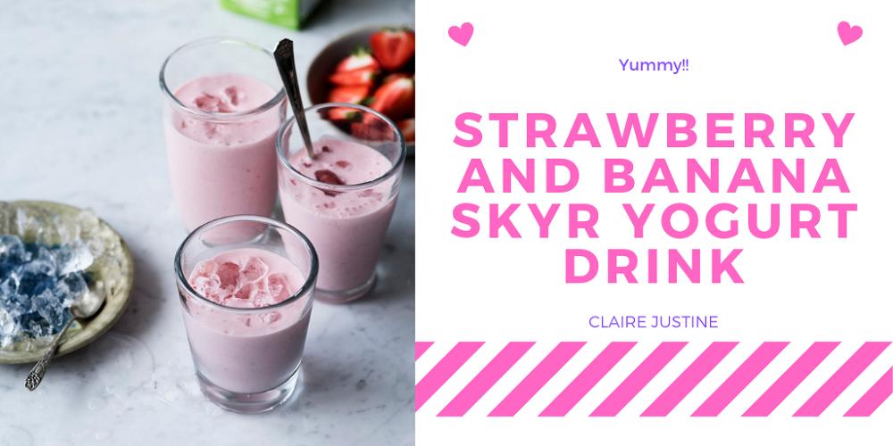 Strawberry And Banana Skyr Yogurt Drink.