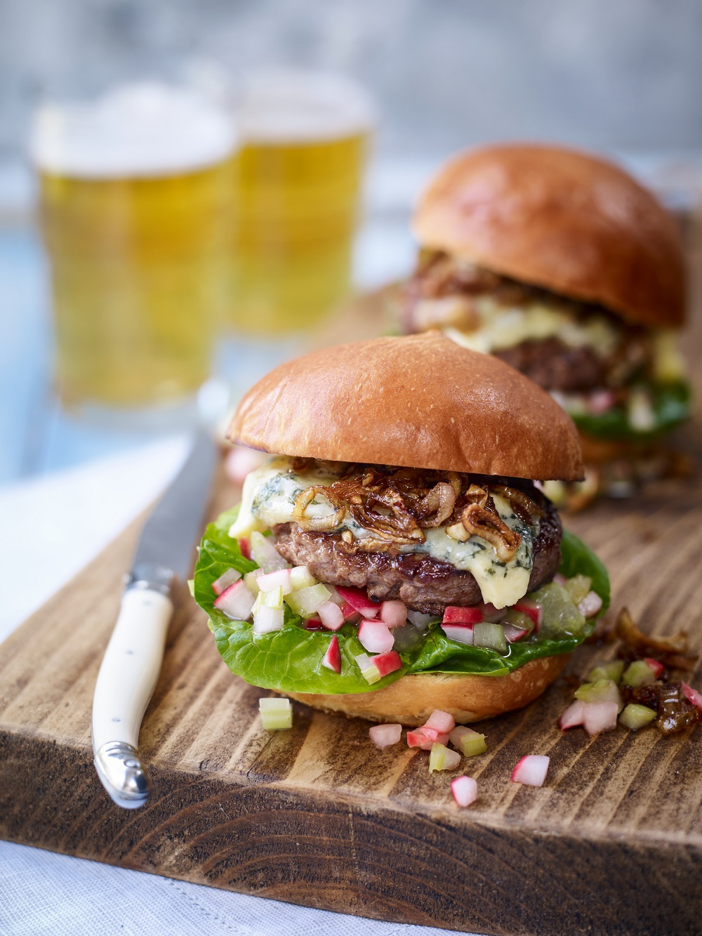 Father's Day Recipe: Blue Cheese Beef Burger With A Celery And Radish Salsa And Caramelised Shallots