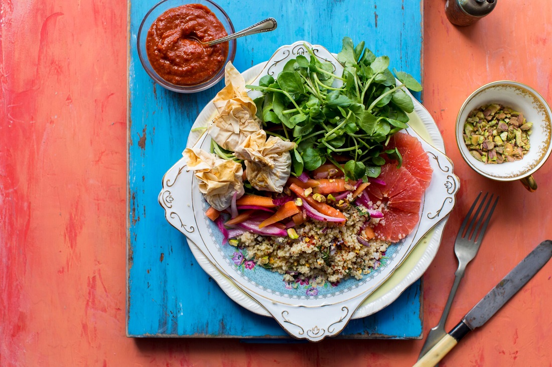 Moroccan Couscous Salad With Feta Parcels, Watercress And Harissa Yoghurt