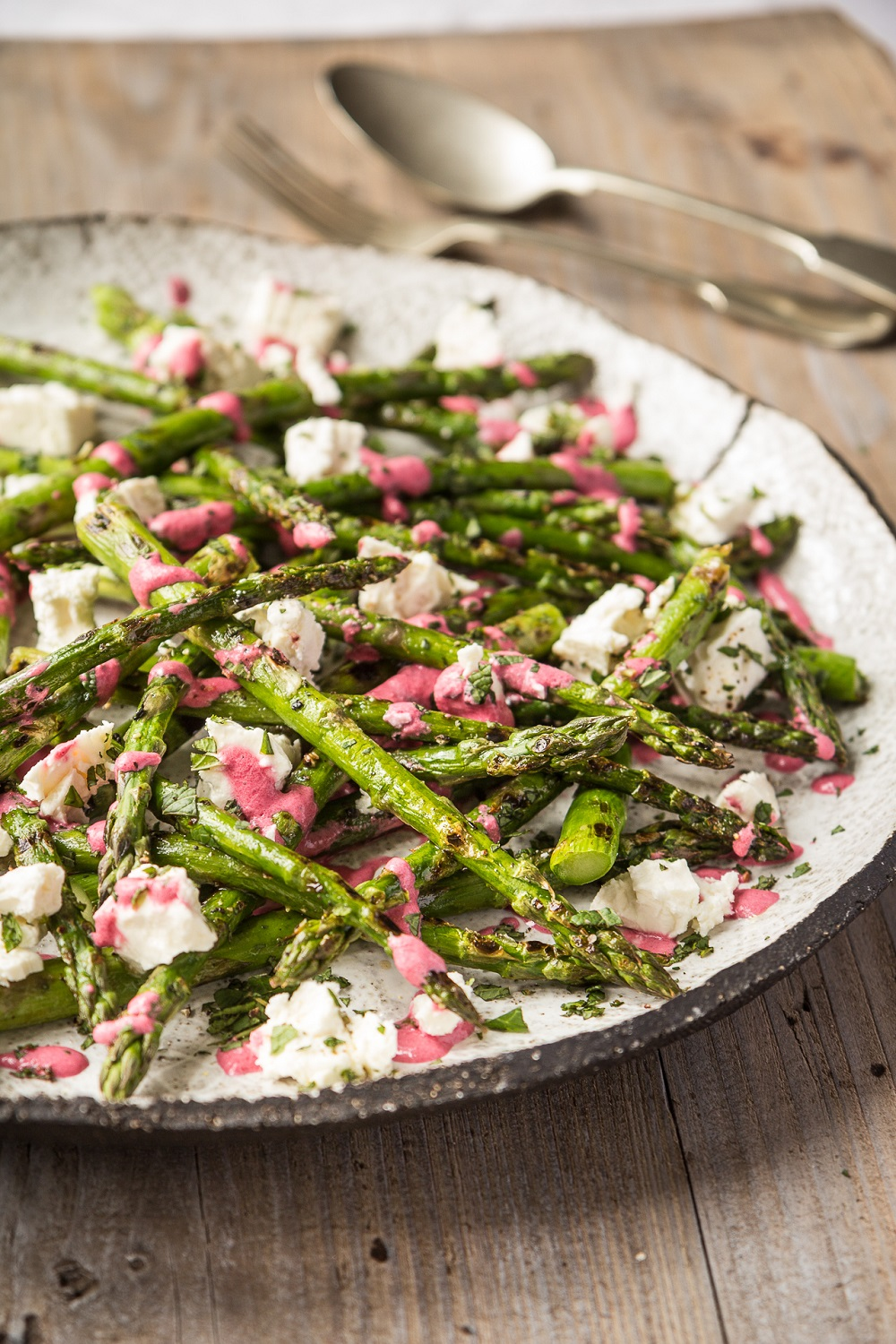 BBQ British Asparagus With Feta And Beetroot Dressing
