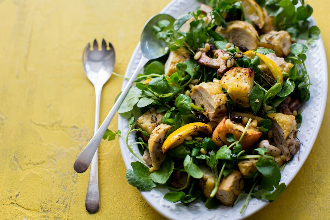 Roast Chicken And Wild Mushroom Watercress Salad With Pine Nuts And Raisins