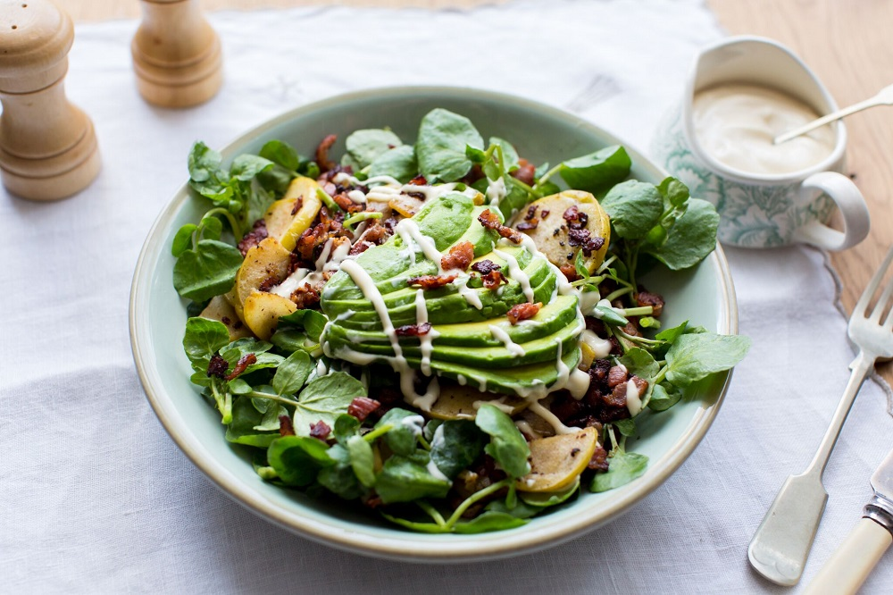 Watercress And Avocado Salad With Bacon And Apple