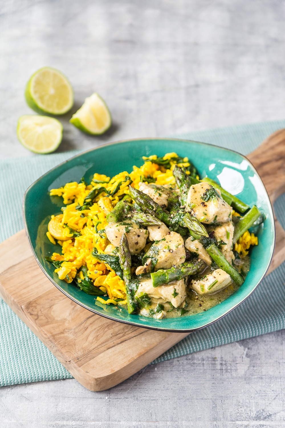 Thai Chicken And British Asparagus Curry With Turmeric Rice