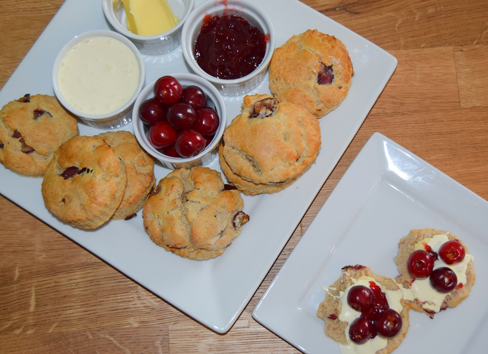 Afternoon Cherry Scones With Cream And Jerte Picota Cherries On Top
