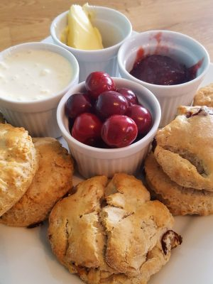 Afternoon Cherry Scones With Cream And Jerte Picota Cherries