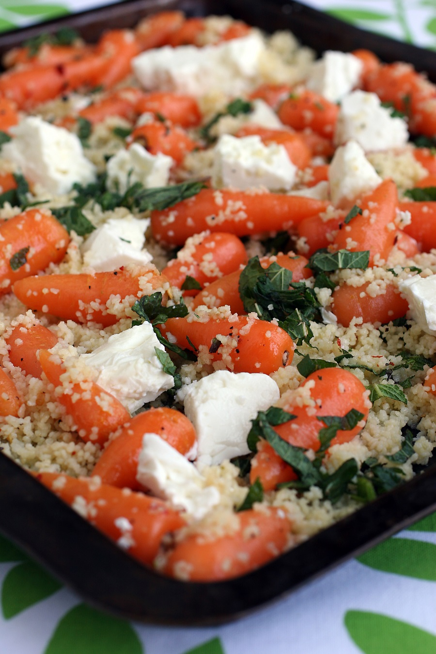 Lemon Roasted Chantenay With Feta And Mint Couscous Salad