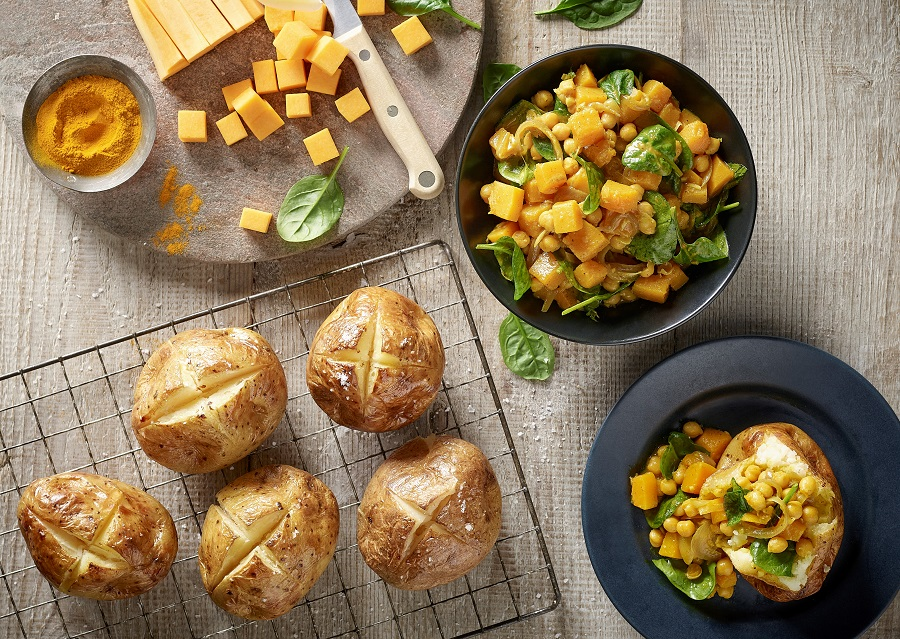 Spiced Squash And Spinach: Jacket Potato Fillings