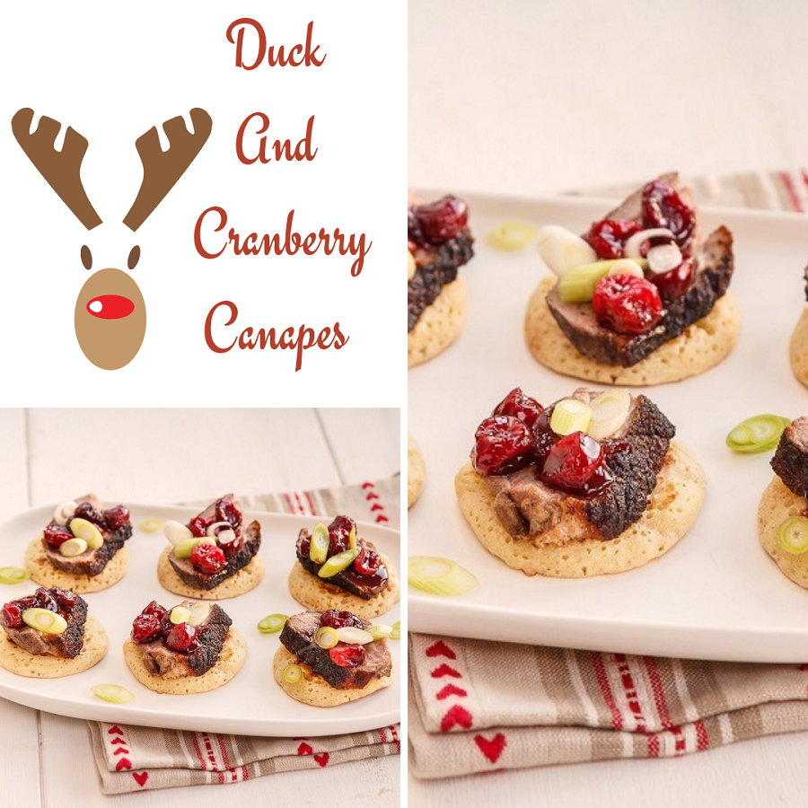 Canapé Shabby Chic duck and cranberry canapes
