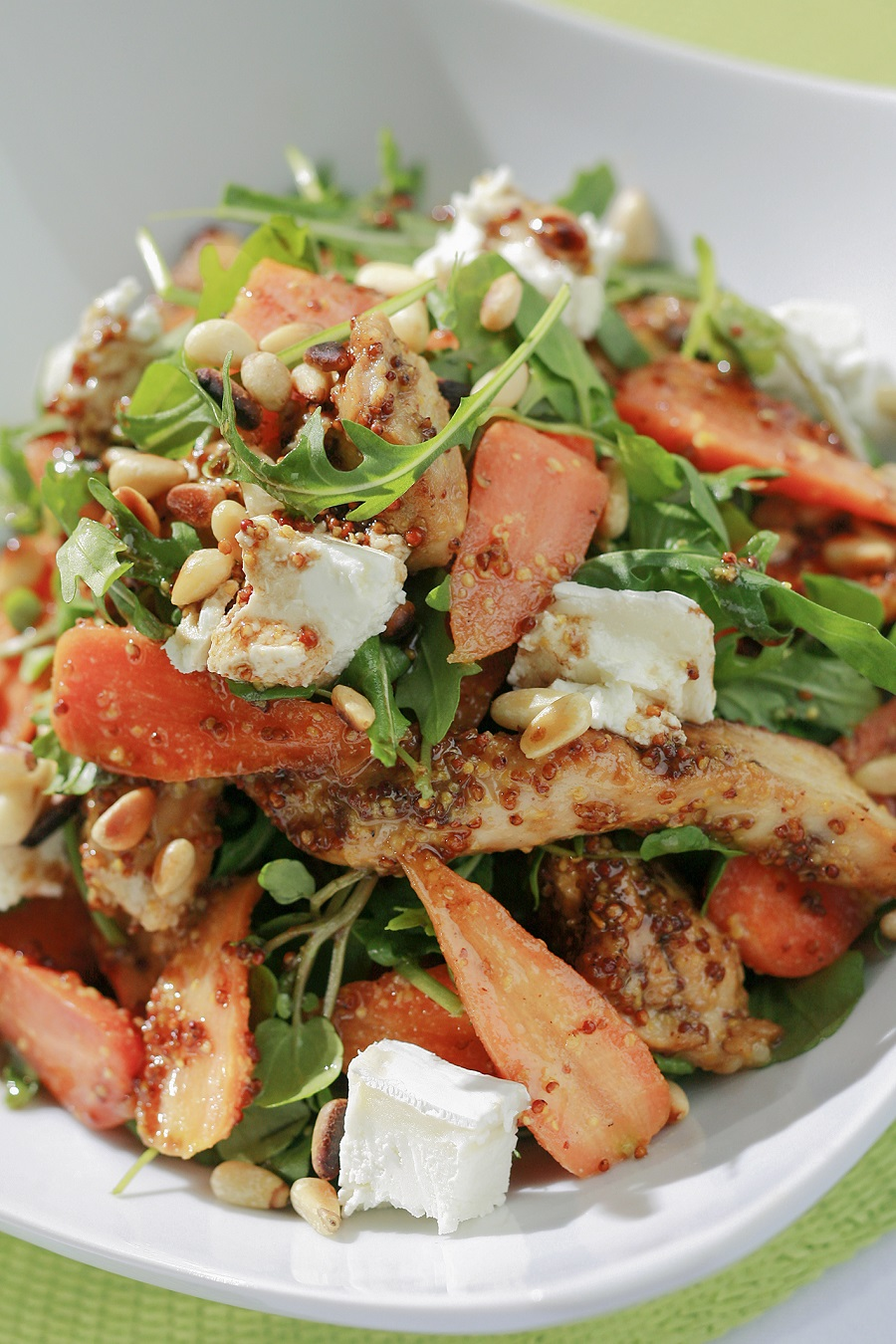 Honey Mustard Turkey And Chantenay Salad With Pine Nuts And Goats Cheese