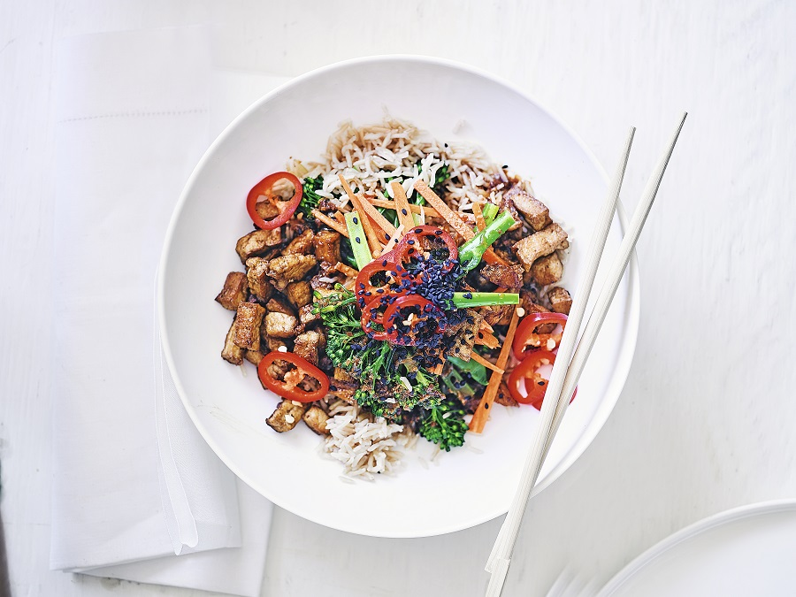 Crispy Tofu Rice Bowl With Soy Lime Dressing