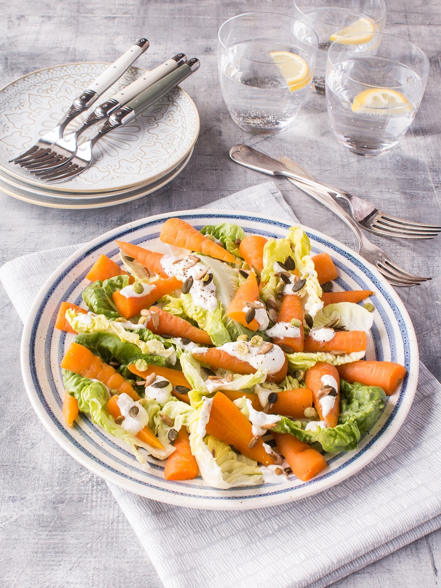 Steamed Chantenay And Little Gem Salad With Feta Dressing