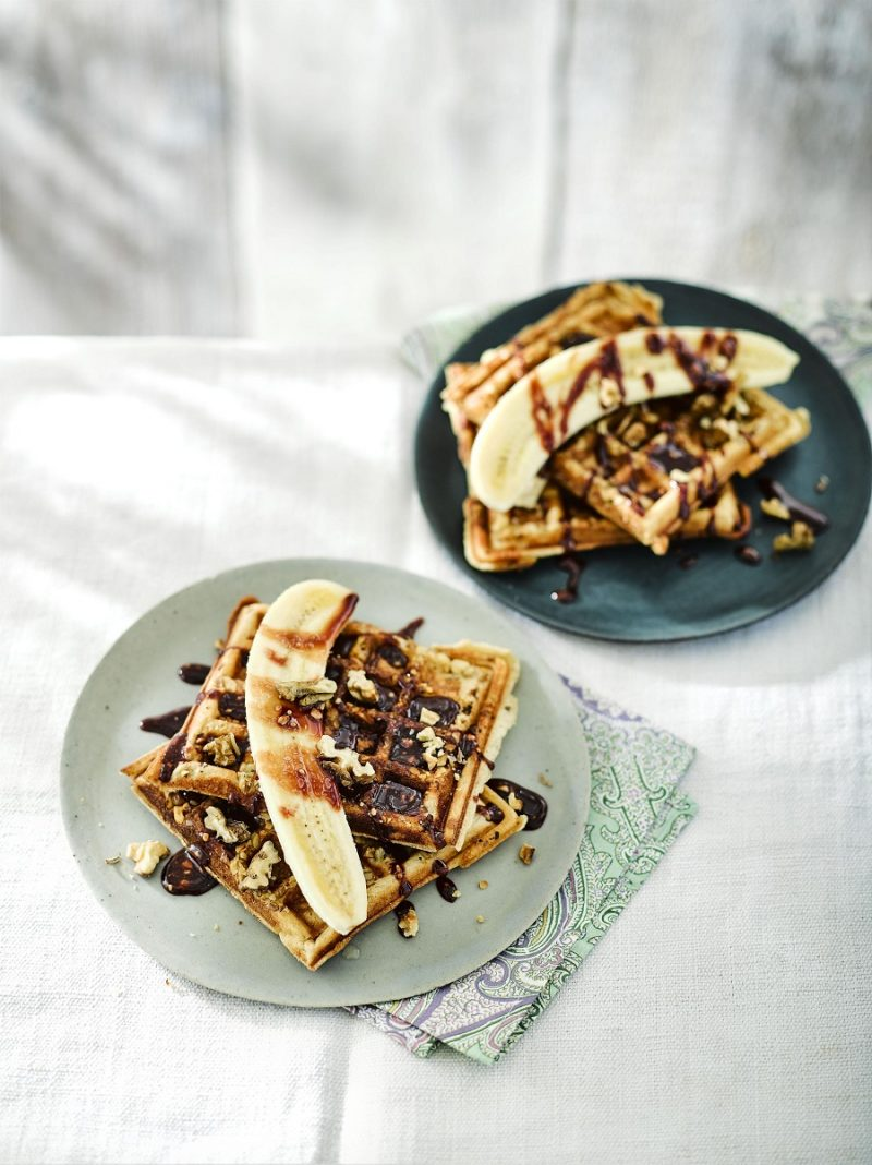 California Walnut Waffles With Date Drizzle