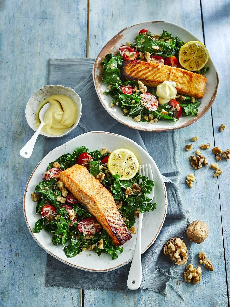 California Walnut And Kale Salad With Grilled Salmon