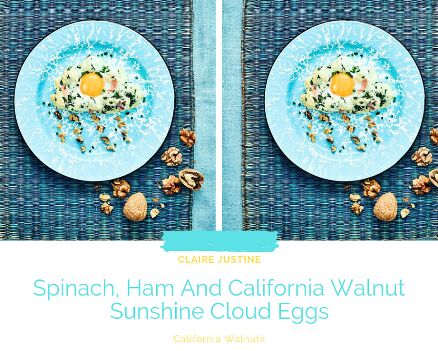 Spinach, Ham And California Walnut Sunshine Cloud Eggs