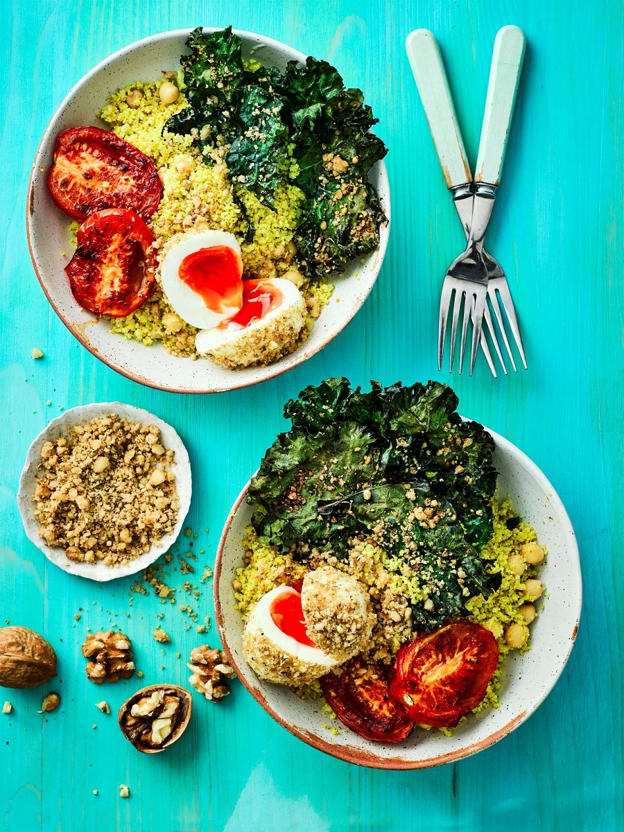 Cauli-rice And California Walnut Crusted Egg Buddha Bowl