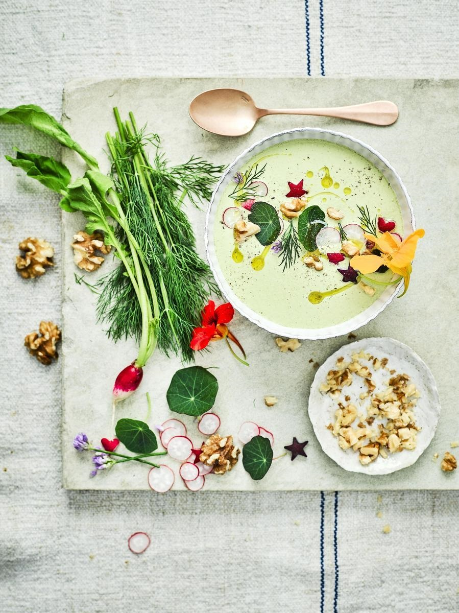 Chilled California Walnut And Cucumber Sunshine Soup