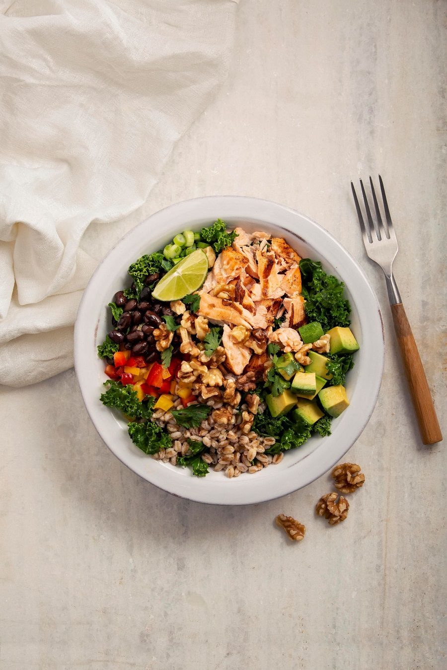 Salmon, Walnut And Avocado Grain Bowls