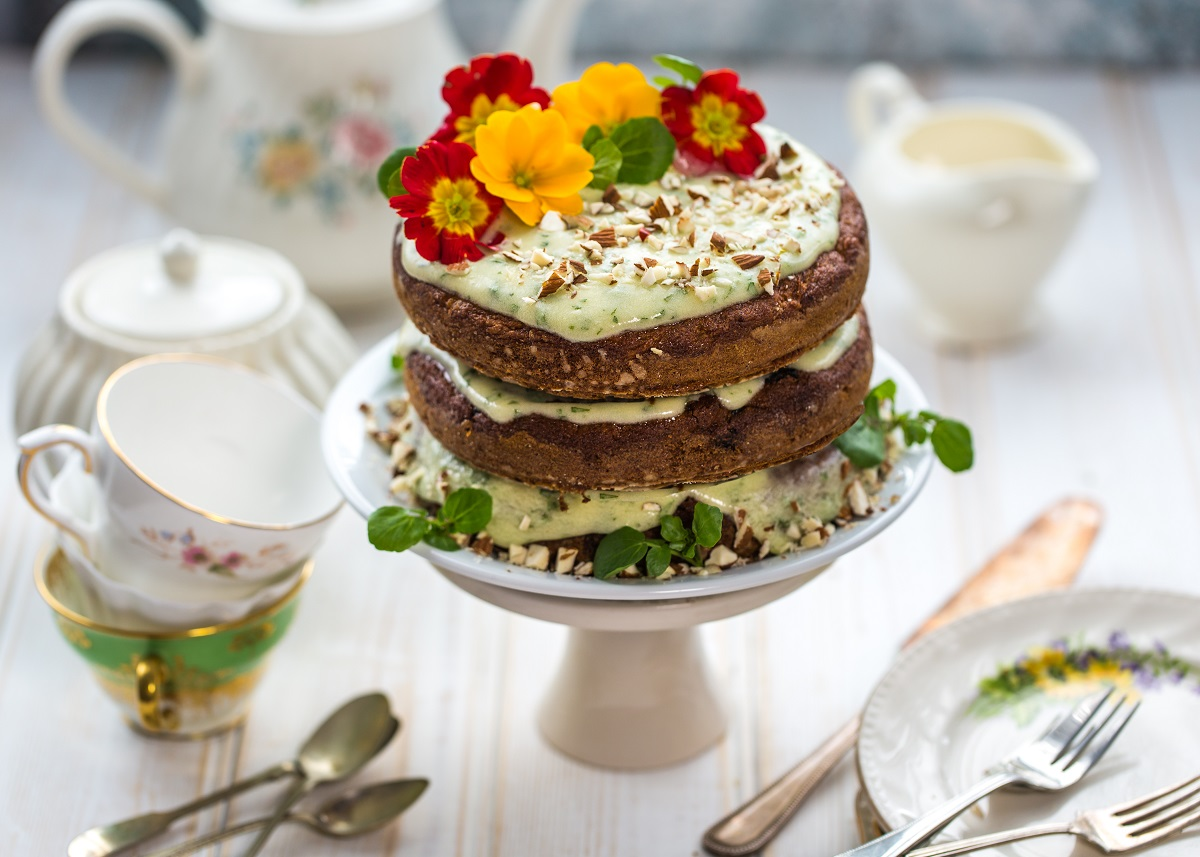 Carrot Cake with Watercress & Cream Cheese Frosting (vegan and gluten free)