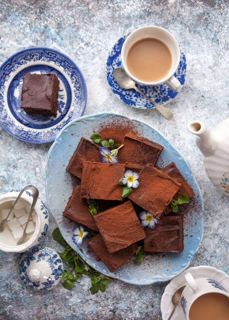Chocolate, Orange & Watercress Brownies with Chocolate Ganache Topping