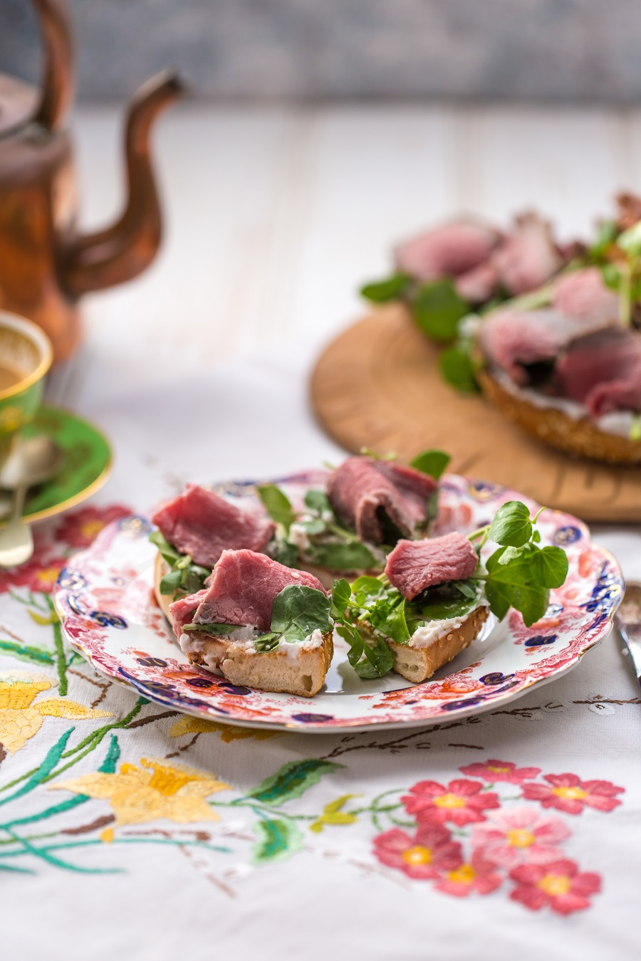 Rare Roast Beef, Wasabi And Watercress Bagels