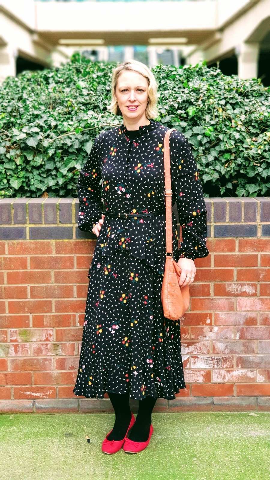 Long Black & Flowered M&S Maxi Dress For Spring