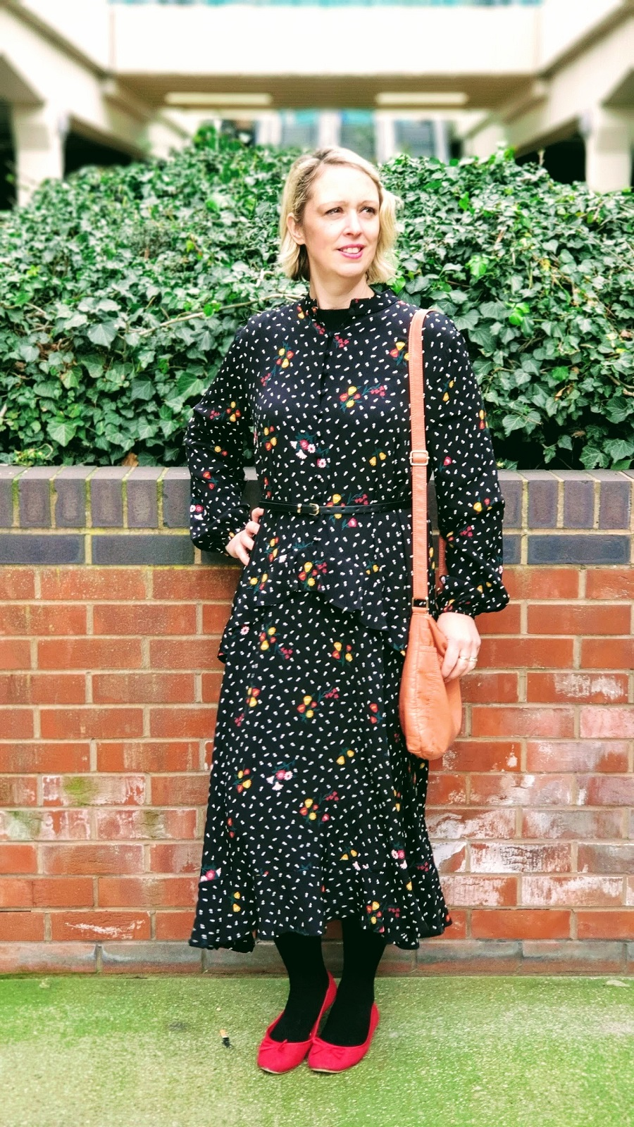 Long Black & Flowered M & S Maxi Dress For Spring