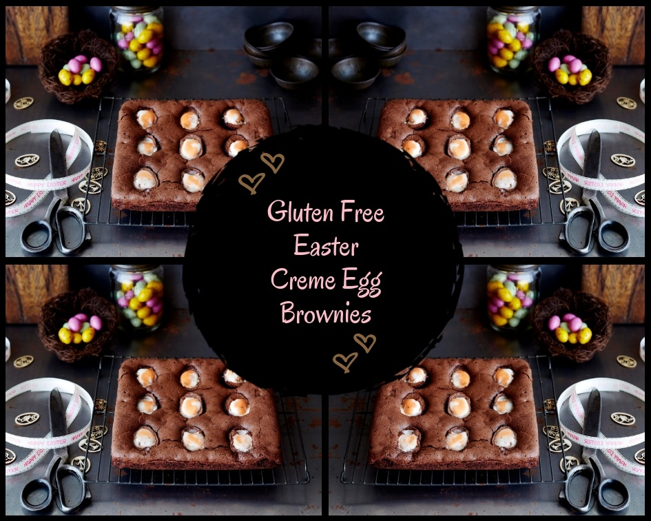 Gluten Free Easter Creme Egg Brownies.