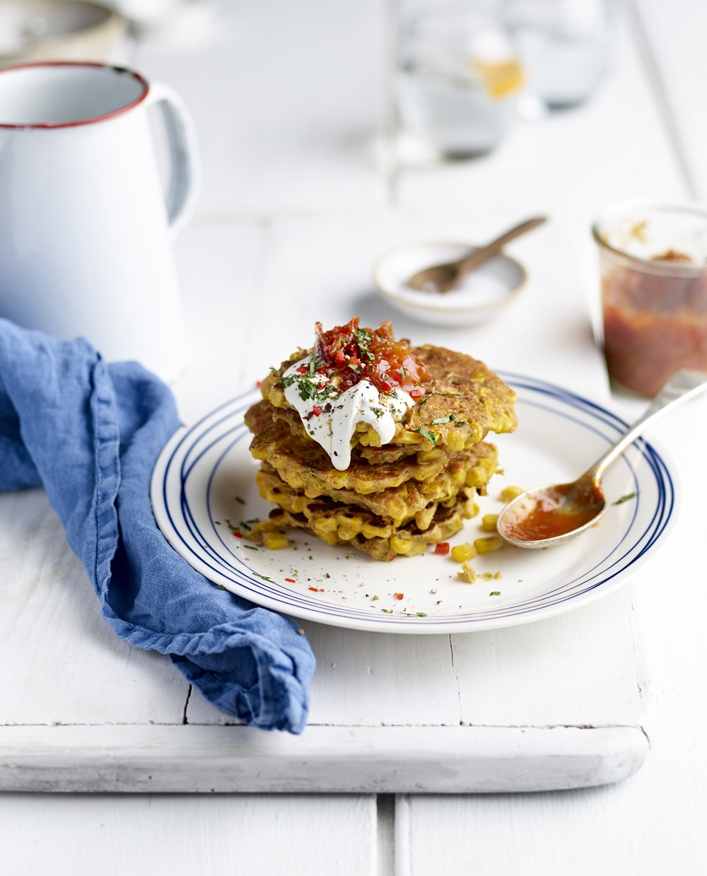 Sweetcorn, Shallot & Chilli Fritters With Tomato & Shallot Chutney