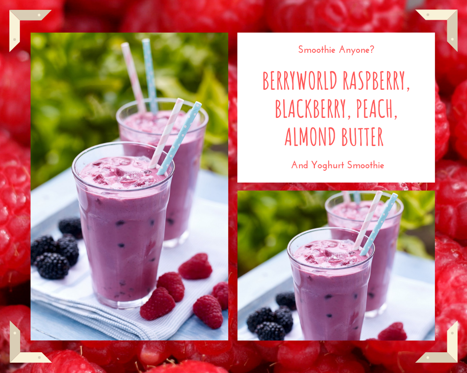 BerryWorld Raspberry, Blackberry, Peach, Almond Butter And Yoghurt Smoothie