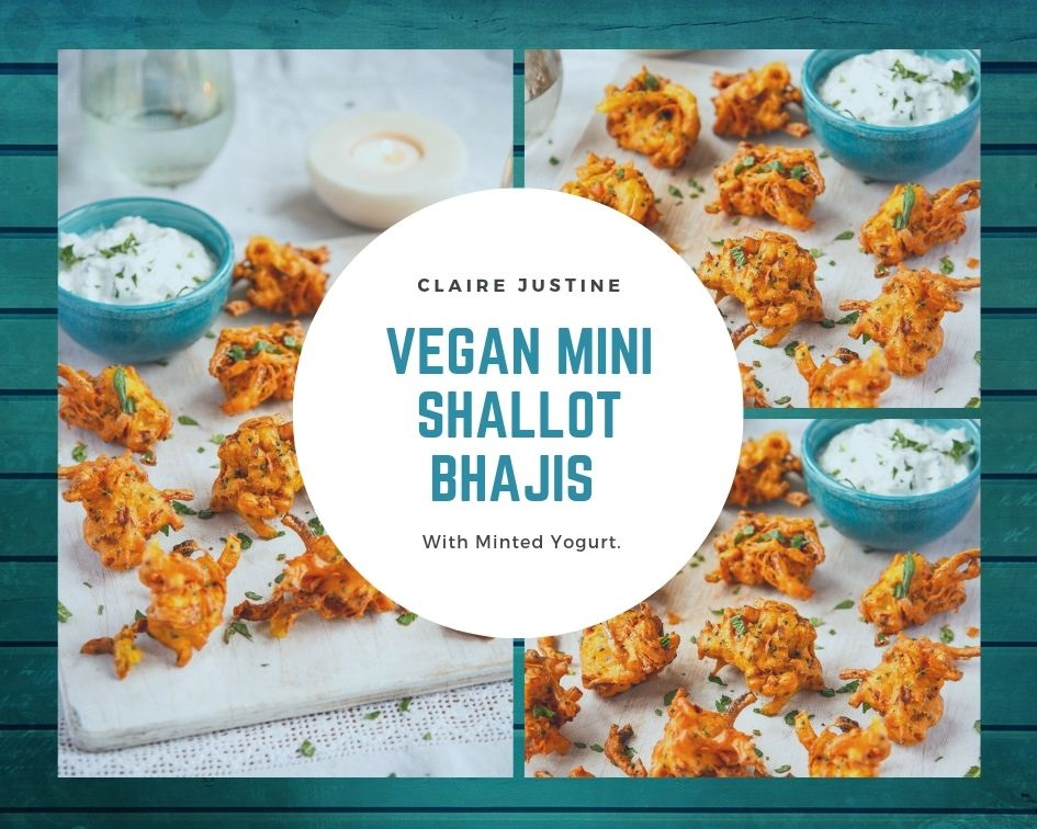Vegan Mini Shallot Bhajis With Minted Yogurt.