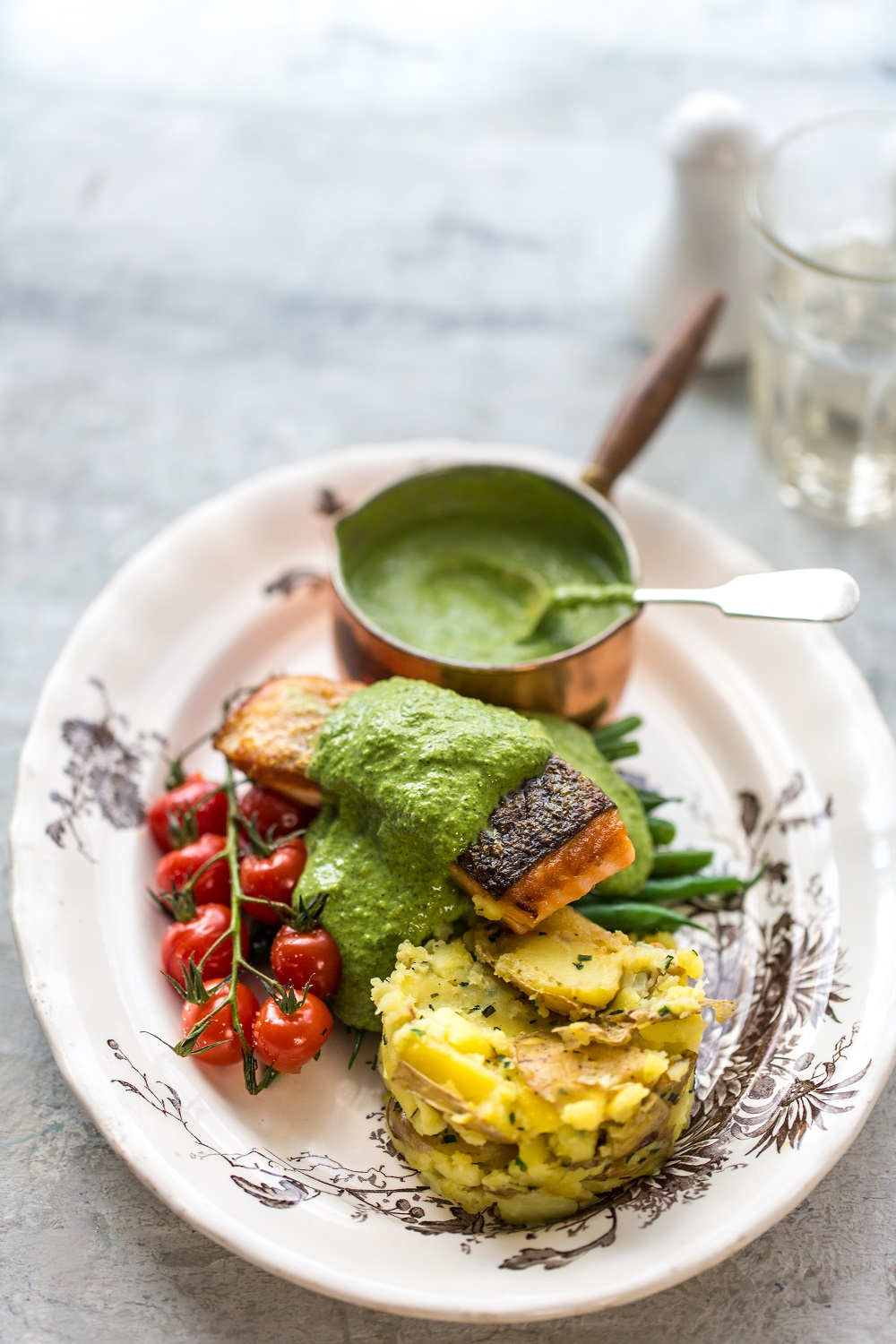 Pan-fried Salmon With Watercress Sauce And Crushed New Potatoes