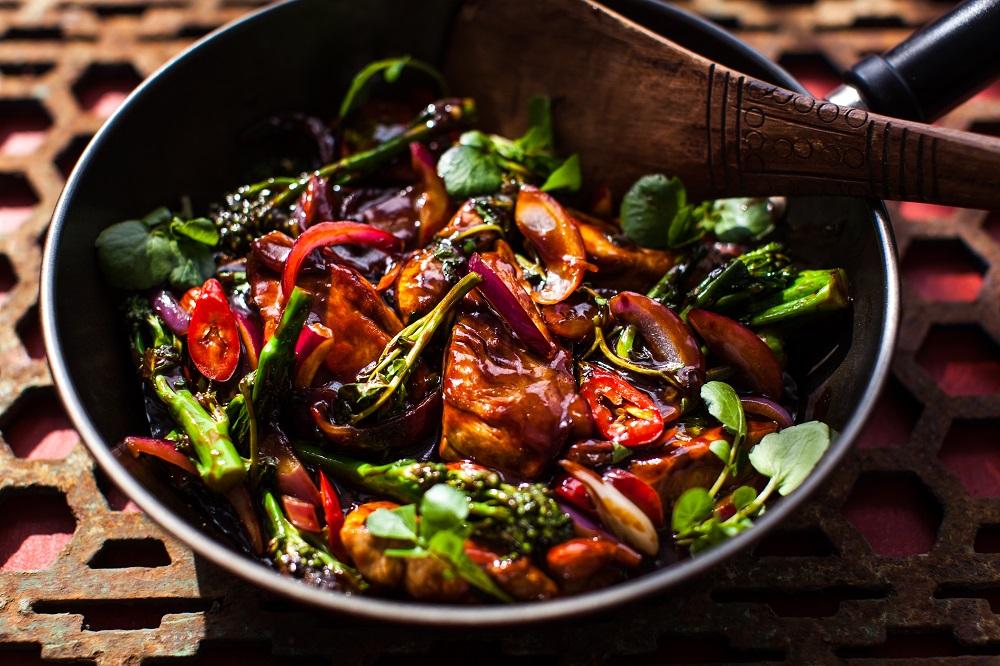 Szechuan Pork, Watercress And Broccoli Stir Fry.
