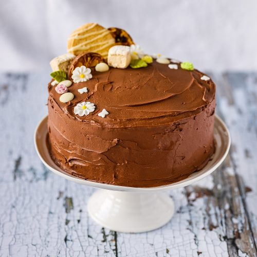 Homemade Mother's Day Spring Mocha Fudge Cake