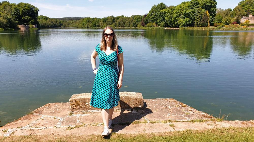 A Walk At Newstead Abbey: Turquoise Polka Dot Dress