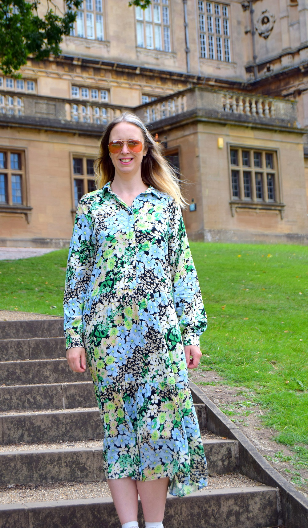 Green Floral Floaty Maxi Dress: Walk In Wollaton Hall
