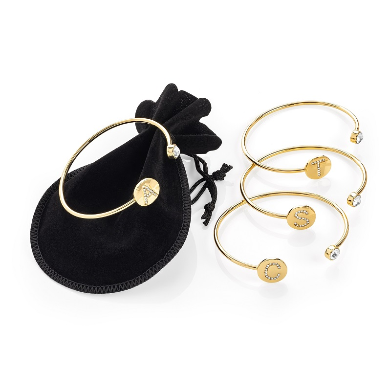 Gold Colour Crystal 'E' Initial Adjustable Bangle In A Black Velvet Look Gift Pouch: