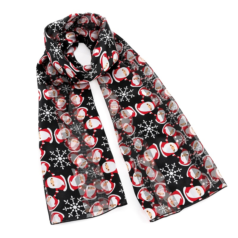Black And Red Tone Santa Clause Design Satin Stripe Effect Scarf