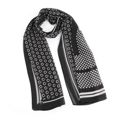 Black and white polka dot design scarf