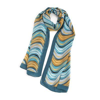 Blue Tone Wavy Stripe Design Scarf: