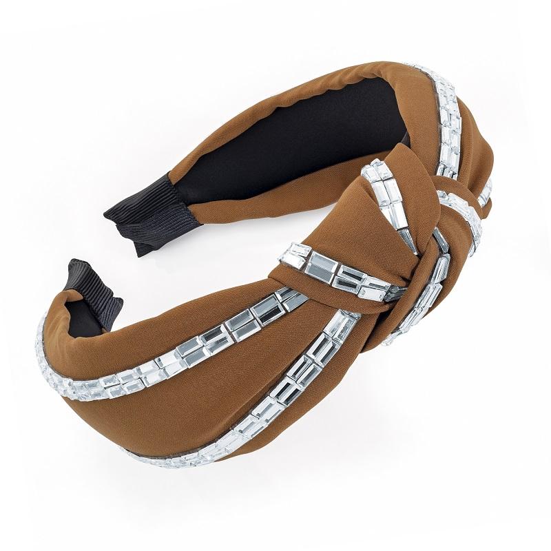 Brown and crystal knot design headband.