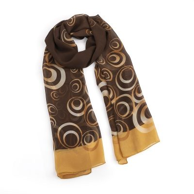 Brown Tone Circle Design Scarf
