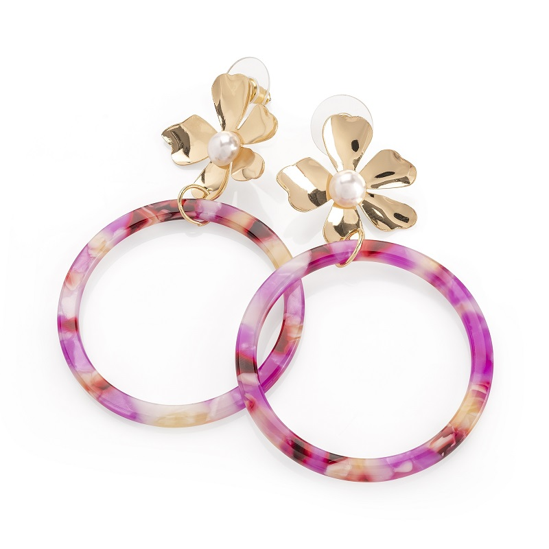 Gold Colour Cream Pearl And Purple Marble Effect Flower Earring