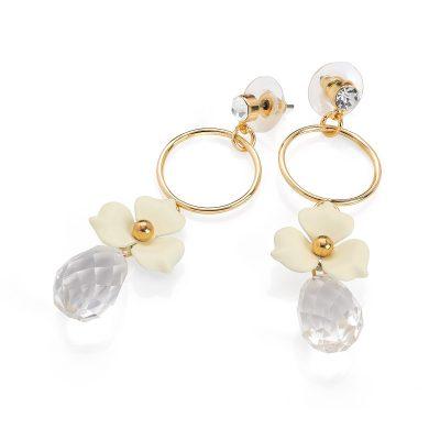 Gold Colour Crystal Cream Flower Drop Earring: