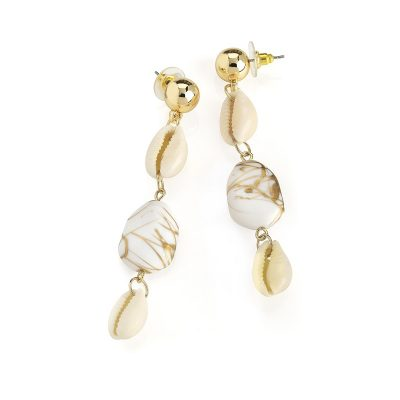 Gold Colour Shell Look Drop Earring