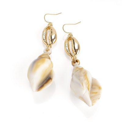 Gold Colour Shell Look Drop Earring.