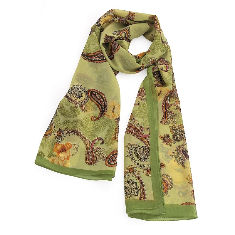 Olive Green Colour Paisley Design Scarf