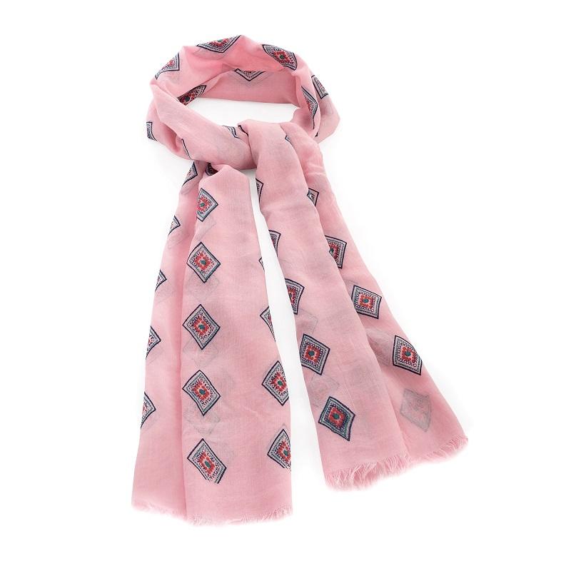 Pink Diamond Design Scarf