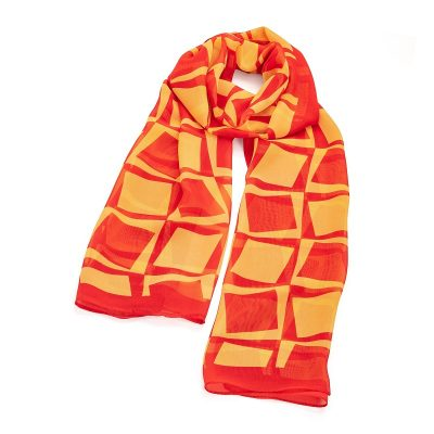 Red And Yellow Square Design Scarf